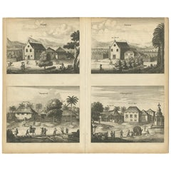 Antique Print of the Churches of Kopay, Poutour, Navacouli and Chavagatzeri