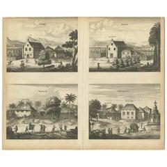 Antique Print of the Churches of Kopay, Poutour, Navacouli and Chavagatzeri