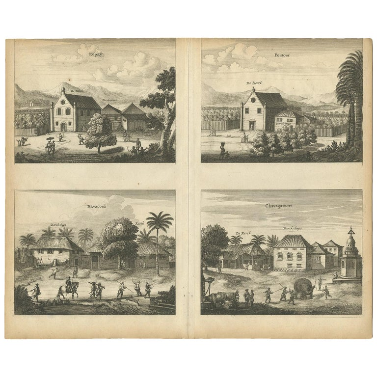 Antique Print of the Churches of Kopay, Poutour, Navacouli and Chavagatzeri For Sale
