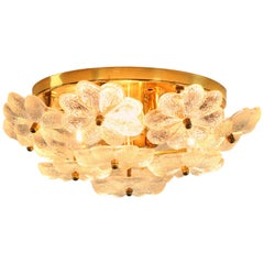 Ernst Palme Glass and Brass Flower Blossom Flush Mount or Sconce Wall Lamp