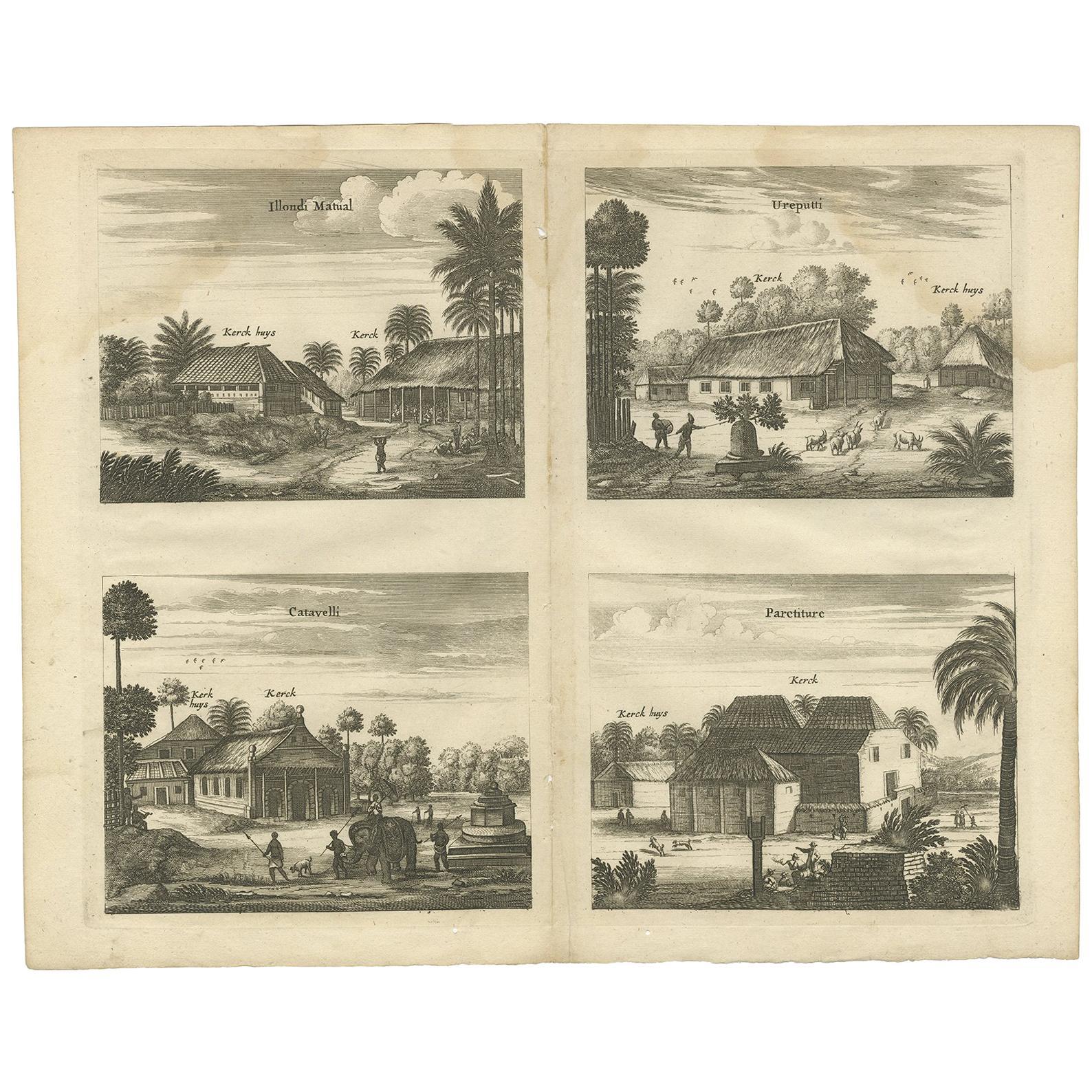 Antique Print of the Churches of Ilondi Matual, Ureputti, Catavelli and Paretitu