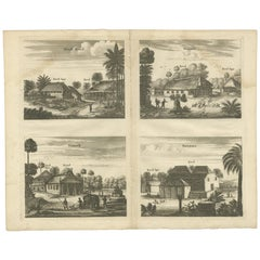 Antique Print of the Churches of Ilondi Matual, Ureputti, Catavelli and Paretitu