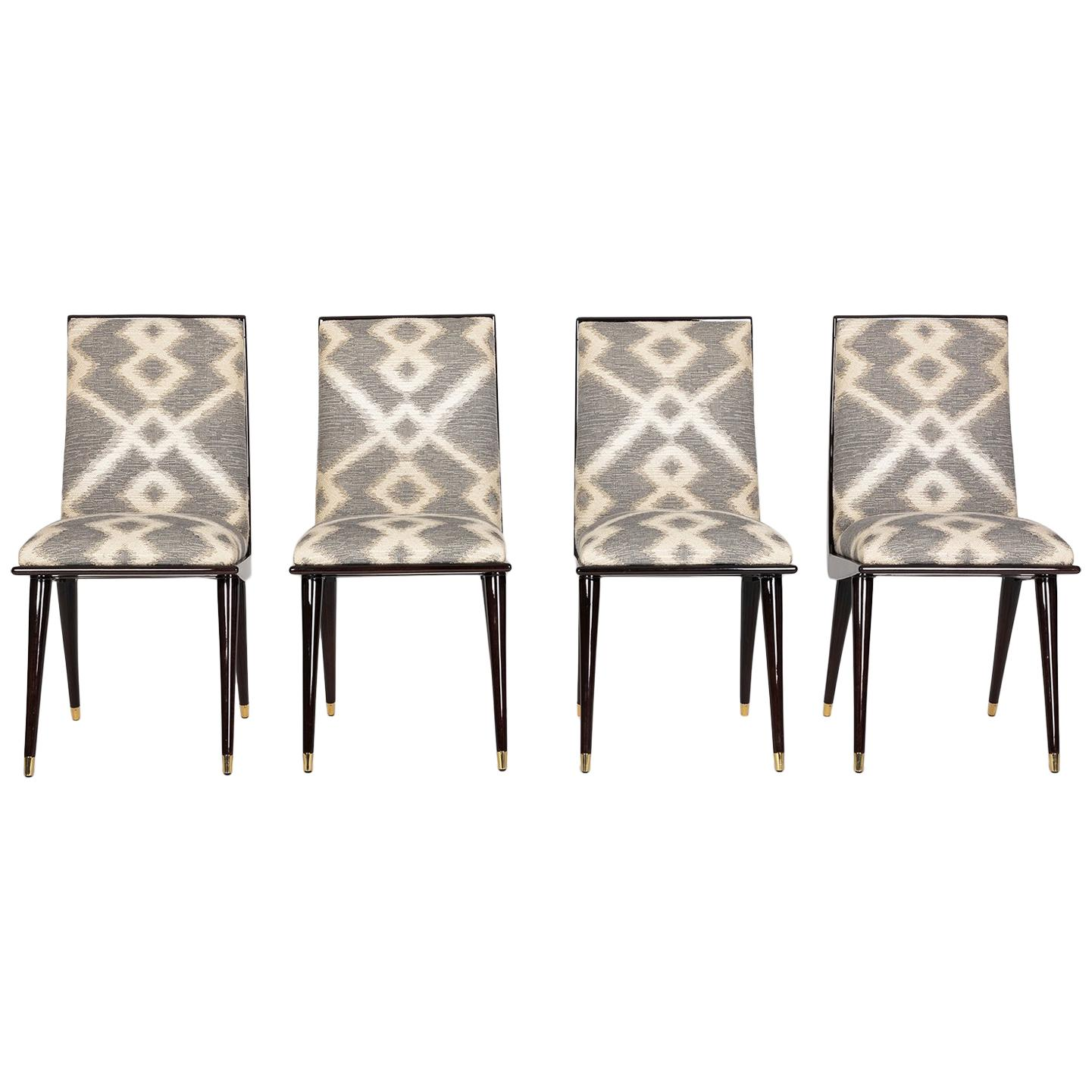 Mid Century Hardwood And Brass Italian Dining Chairs In Robert Allen Ikat  Fabric For Sale