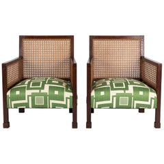 Pair of Danish Armchairs in Oak and Caned Panels with a Robert Allen Fabric