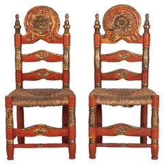Pair of 18th Century Spanish Style Ladder Back Painted Chairs with Rush Seats