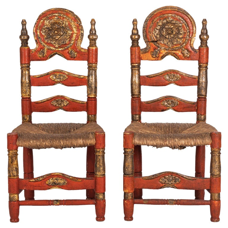 Pair of 18th Century Spanish Style Ladder Back Painted Chairs with Rush Seats For Sale