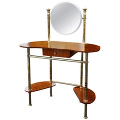 Midcentury Italian Brass and Wood Dressing Table