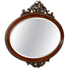 Antique Wall Mirror, Edwardian, Ovular, Carved Walnut, 20th Century, circa 1910