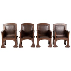 Set of Four Portuguese Country Rustic Style Chairs in Solid Hardwood and Leather