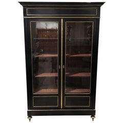19th Century French Ebonised Bibliotheque with Brass Detailing and Shelves