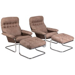 Rare Pair of Dux Lounge chairs and Ottomans attributed to Bruno Mathsson, 1970