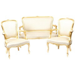 Superb Bespoke Louis Revival Giltwood Pair Armchairs and Sofa Suite