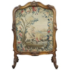 Fine French Early 19th Century Carved Walnut Tapestry Fire Screen