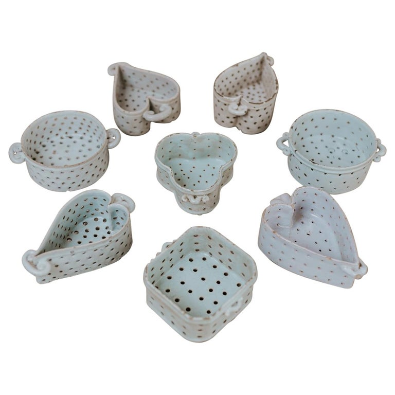 Collection of Porcelain Cheese Moulds For Sale