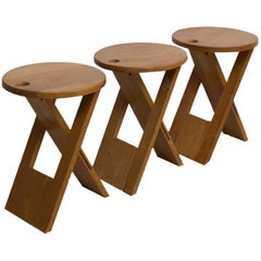 3 Vintage Beech Suzy Stools by Adrian Reed for Princes Design Works Ltd, 1980s