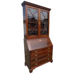 20th Century Edwardian Mahogany Georgian Style Secretary Bookcase
