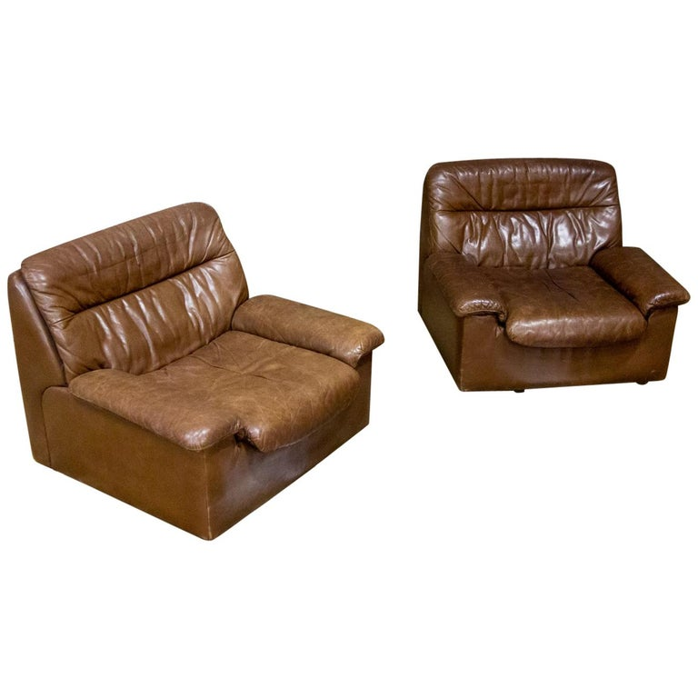 De Sede Armchairs Model DS66, Brown Leather, Switzerland, Swiss Made, 1970s For Sale