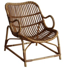 Flemming Lassen, Early Lounge Chair, Bamboo, Cane, E. V. A. Nissen & Co., 1940s