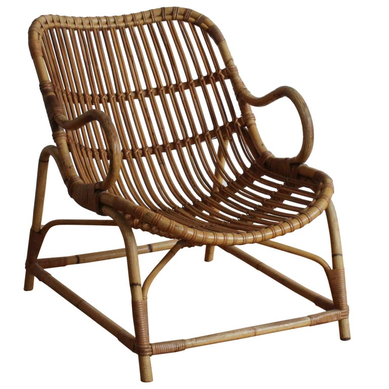 Flemming Lassen, Early Lounge Chair, Bamboo, Cane, E. V. A. Nissen & Co., 1940s For Sale