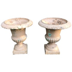 Pair of Small 19th Century French Neoclassical Cast Iron Urns