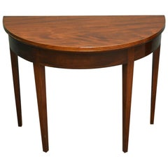 Elegant D Shaped Regency Mahogany Antique Console or Games Table