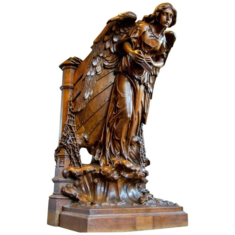 Hand Carved Skippers Pulpit Statue, 1850 Normandy For Sale
