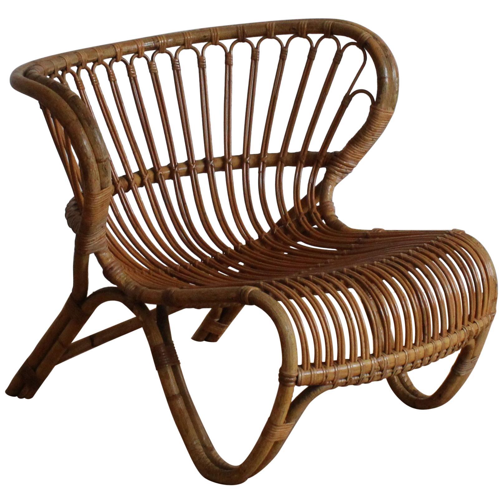 Viggo Boesen, Early Lounge Chair, Bamboo, Cane, E. V. A. Nissen & Co. 1940s