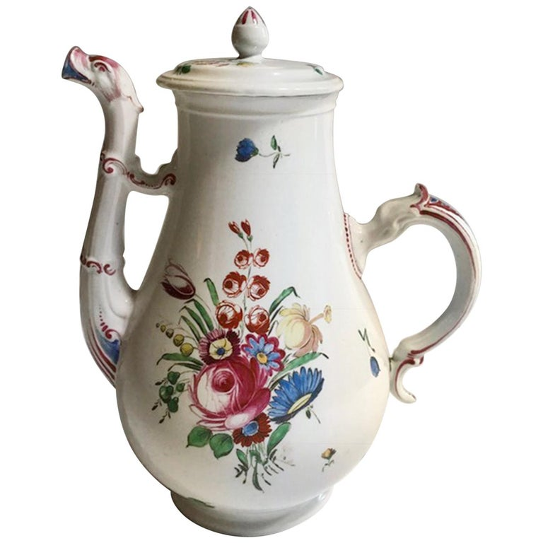 19th Century Richard Ginori Porcelain Coffee Pot with Tulip and Flowers Decor For Sale