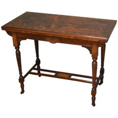 Striking Arts & Crafts Victorian Figured Rosewood Inlaid Side / Games Table