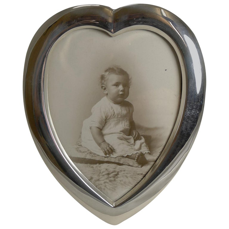 Antique English Heart Shaped Sterling Silver Photograph Frame, 1901 For Sale