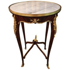 20th Century French Salon Side Table in Louis Quinze with White Marble