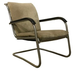 1930, Paul Schuitema Easy Chair, Fabric with Black Lacquered Wooden Armrests