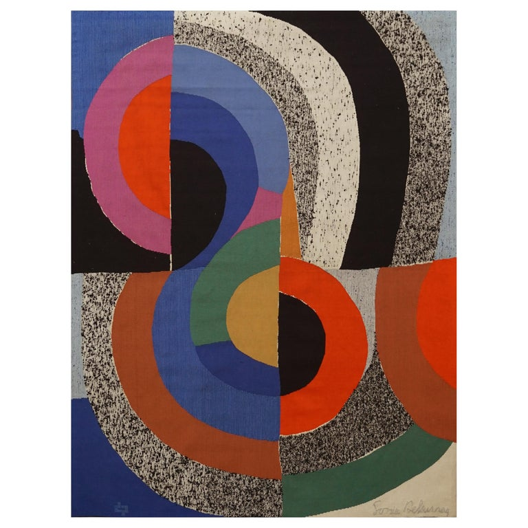 """Modern Tapestry Designed by Sonia Delaunay, Woven by Pierre Daquin """"Hippocampe"""" For Sale"""
