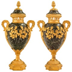 Pair of French 19th Century Louis XVI Style Vert Antique Marble and Ormolu Urns