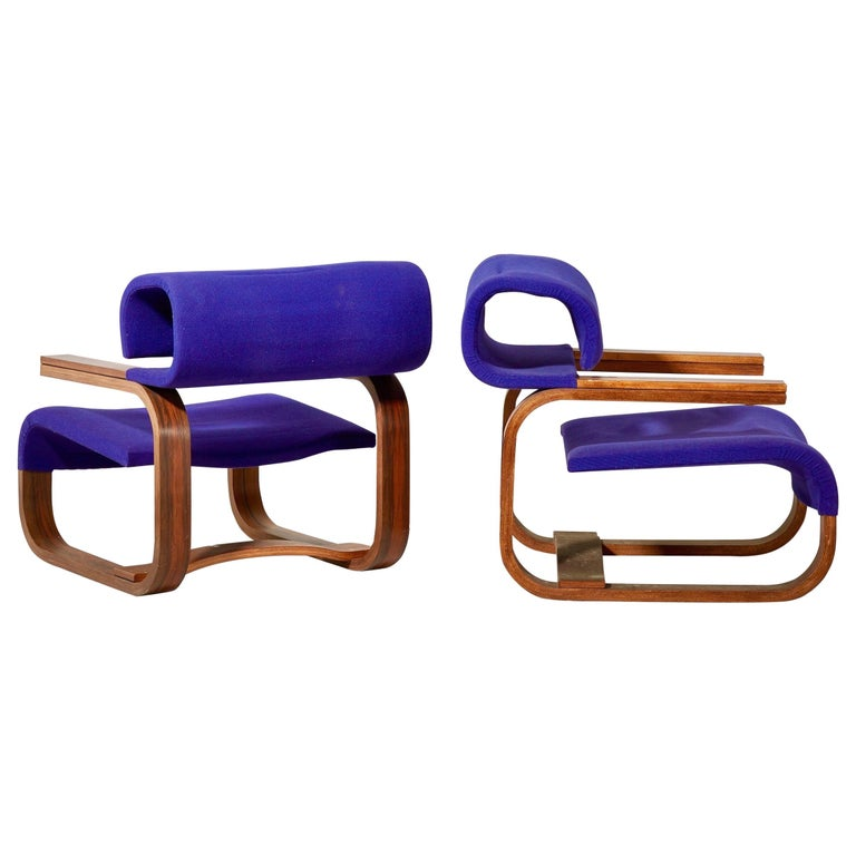 Pair of Armchairs by Jan Bocan for the Czechoslovakian Embassy, Thonet, 1972 For Sale
