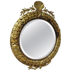 Neoclassic Gilt Tole Shell Motif Mirror