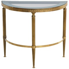 French Maison Baguès Brass Cocktail Side Table with Mirrored Glass Top