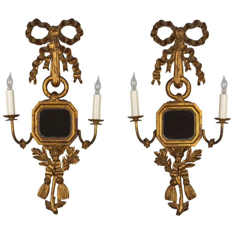 Pair of Italian Giltwood Sconces For Sale