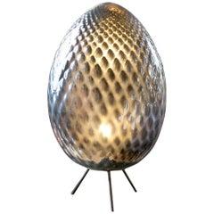 Silver Murano Glass Egg Lamp