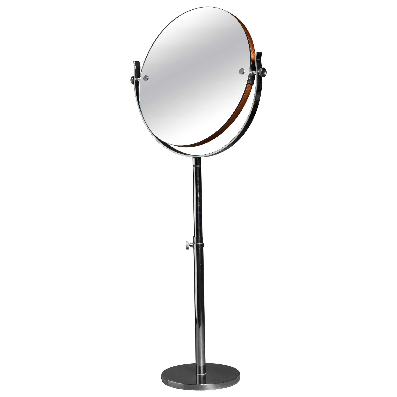 Large Height-Adjustable Nickel Vanity or Shaving Mirror, Sweden, 1950s