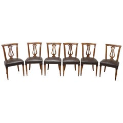 20th Century Italian Neoclassical Style Walnut Carved Set of Six Chairs