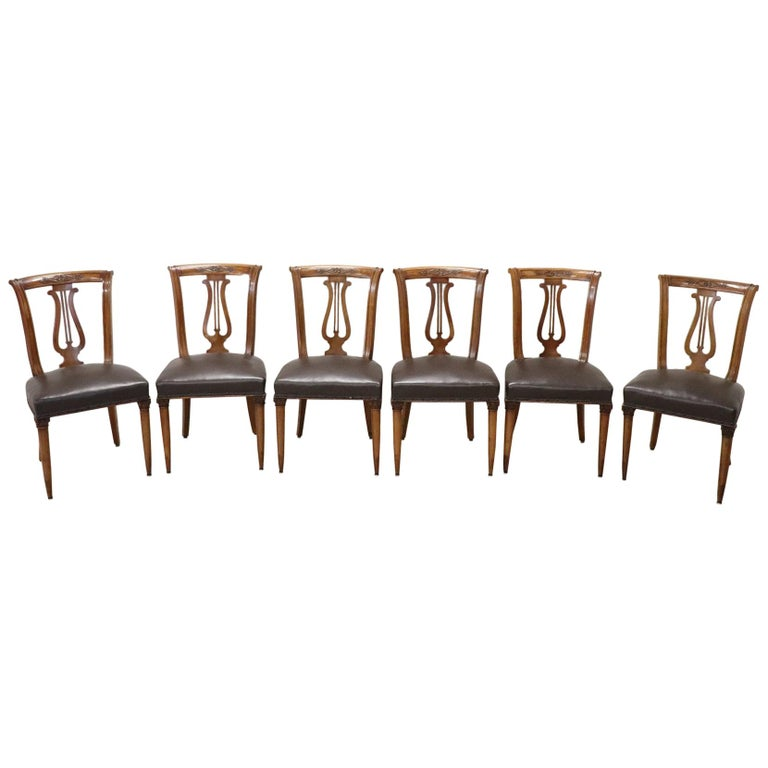 20th Century Italian Neoclassical Style Walnut Carved Set of Six Chairs For Sale