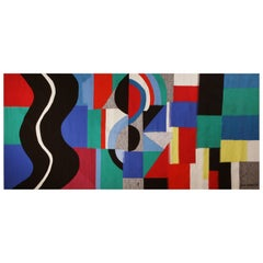 Monumental modern tapestry designed and signed by Sonia Delaunay - Serpent Noir