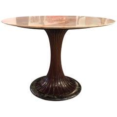 Vittorio Dassi Italian Circular Pedestal Gueridon Dining Table with Marble Top