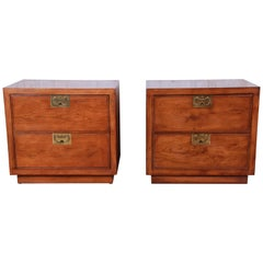 Henredon Campaign Style Oak Nightstands, Pair