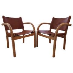 Pair of Finnish Ben Af Schulten Model 611 Safari Chairs by Artek