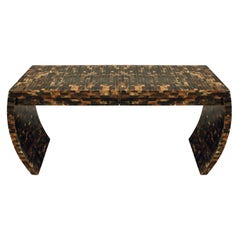 Console Table with 2 Drawers and Curved Sides in Tessellated Horn, 1970s