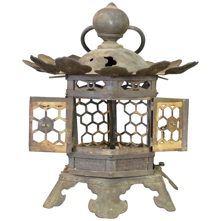 Japanese Tall Antique Lantern with Double Doors and Fine Details For Sale