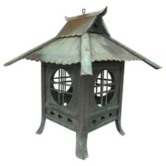 """Japan Large Antique Cast Bronze """"Tea House"""" Lantern, Exquisite Details, 1880"""