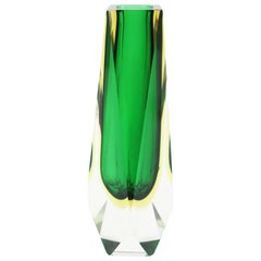 Giant Mandruzzato Triple Cased Green Black Yellow Faceted Murano Glass Vase